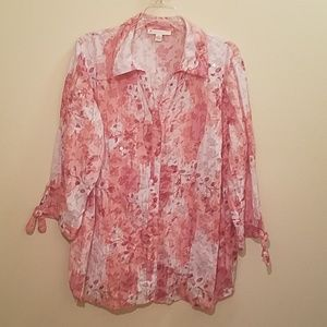 JM Collection Pink & White Floral Women's 18W Top